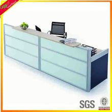 Two people new arrival front desk counter table supermarket equipment