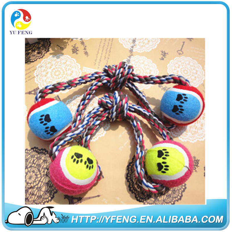Lovely Cotton Rope Pet Fetch Ball Dog Chew Toy Ball