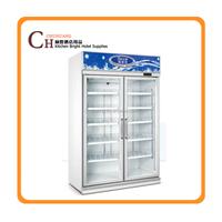 Double door beverage display cooler/drinks display fridge/supermarket display refrigerator/upright freezer