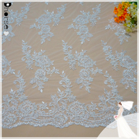 Decoration Wholesale Embroidered French Lace Fabric / Wedding Dress Beaded Lace Fabric