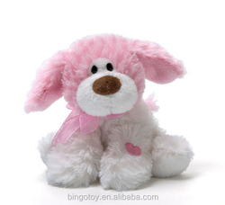 Hot selling fuzzy cute soft dog toy, pink girl plush dog