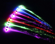 Hot sale Colorful glowing LED Flash Braid Hair Extension by optical fiber