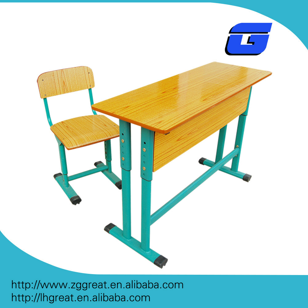 Lecong good quality modern cheap study adjustable double student school desk and chair