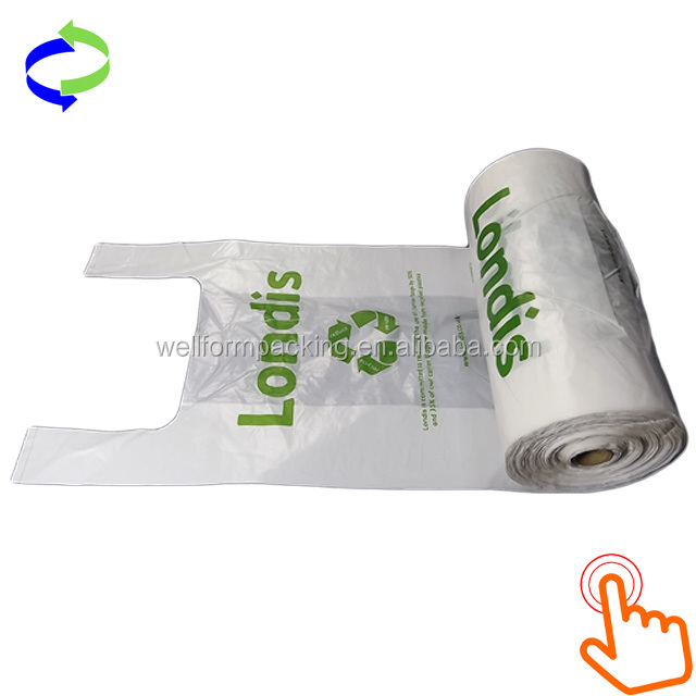 Biodegradable Hdpe and Ldpe Plastic T-shirt Vest Bag on Roll for Shopping