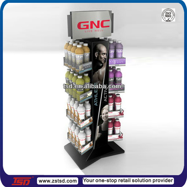 TSD-M420 freestanding standing metal drink display/metal drinking glass stand/floor standing metal display rack for drink