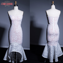 White lace Strapless ladies designer gowns evening dresses