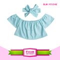 Hottest Selling Newborn Baby Clothes Cheap Off The Shoulder Shirts with Headband