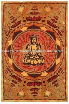indian printed bedcovers buddha model