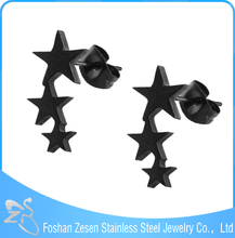 simple design five-pointed star black color earring for boys and girls