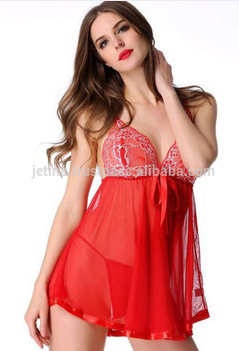 Lace Splicing Dress With G-String