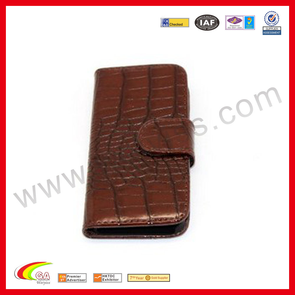 For iphone 5 leather case,high-end magnetic clasp wallet flip cover crocodile leather carrying case for iPhone 5,china supplier