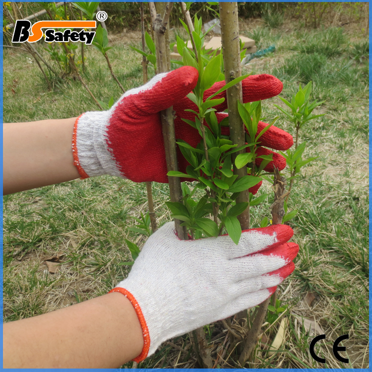 Factory Price Red Cotton Knitted Black Latex Coated Work Abrasive Slip Resistant Hand Gloves For Construction Work