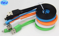 Colorful flat usb cable male to micro 5PIN