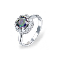 Sterling silver CZ crown Mystic Rainbow Topaz color Engagement Ring