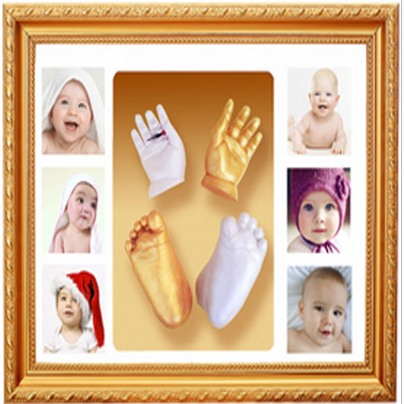 Happy newborn baby hand and foot 3D casting kit handprint footprint photo frame