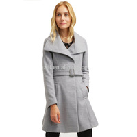 Custom Fashion Belted Silver Grey Women's Coat