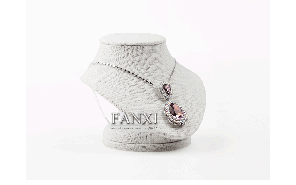 FANXI china wholesale creamy white linen jewelry display showcase necklace/pendant display for counter mannequin jewelry stand