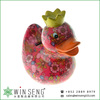 cheap coin box lovely design flower patterns duck shaped ceramic animal piggy bank