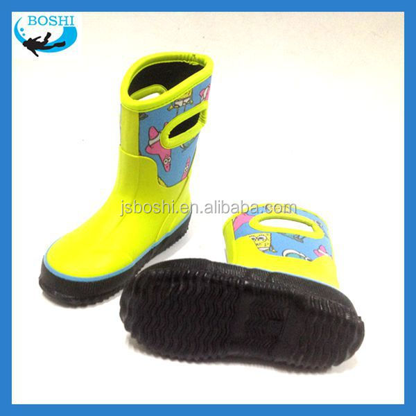 cheap rainbow korea cute kid rubber boots Neoprene lining rubber shoes for children