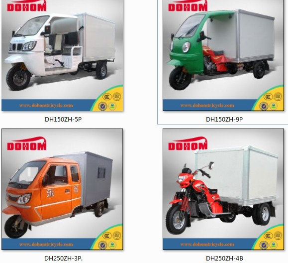 New arrival moto cargo tricycle with cabin closed