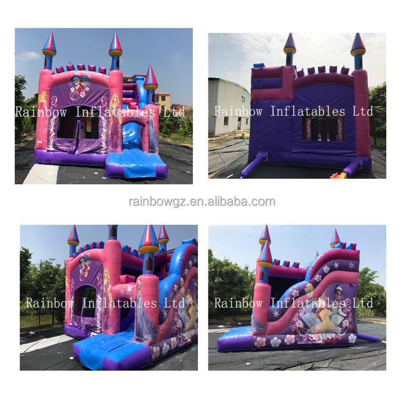 2017 Hot sale Inflatable princess bouncer castle /commercial combo with slide