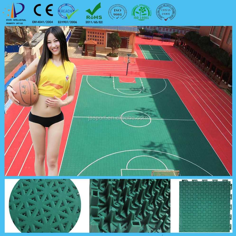 High quality and colorful free design pp plastic indoor and outdoor basketball flooring prices