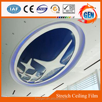 Simple style vivid blue ceiling pvc glossy film for hotels and office buildings decorative
