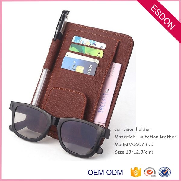 PU leather Auto Car Visor card and sunglasses Organizer, Card Storage Pouch case modern sun shade organizer custom car logo