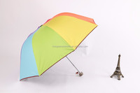 3 fold black gel coated colorful lady Parasol Umbrella, pagoda rainbow umbrella