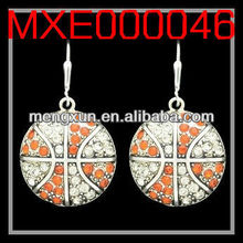 2013 yiwu fashion jewelry alloy CRYSTAL EARRINGS - BASKETBALL - ORANGE & CLEAR