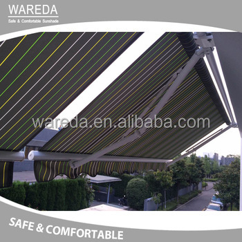 PU coated sail finishing and manual operation method single side free stand awning