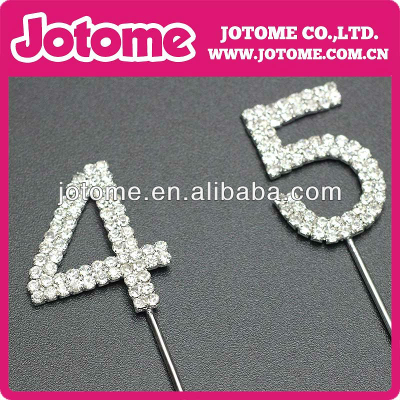 Crystal Rhinestone Silver Quinceanera 45 Birthday Number Cake Topper