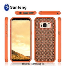 Alibaba Latest Innovative Grid Pattern Shockproof Hybrid Cell Phone Case for Samsung Galaxy S8