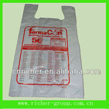 reusable plastic t-shirt bags with customized printing for medicine packaging