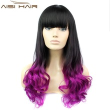 Ombre Black and Purple Two Tone Color Long Wavy Hair Synthetic Hair Machine Made Cosplay Wigs