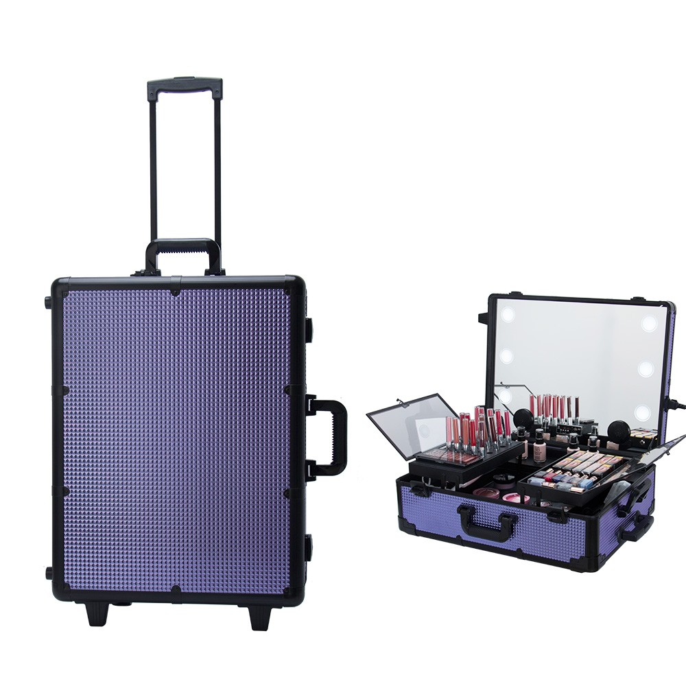 Good quality travel  beauty case aluminium with led light wholesale