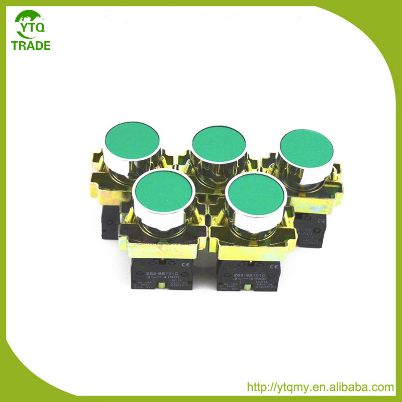 Hot Selling of 22mm Panel Mounted AC 240V 3A SPST NO Momentary Push Button Switch Green