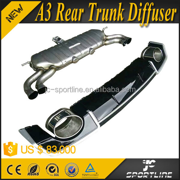 RS3 Look PP Steel Material A3 Rear Trunk Diffuser for Audi A3 8V sportback 13-16 with tail exhaust