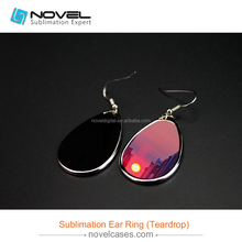 Fashion silver jewelry sublimation printing metal ear ring with teardrop shape