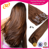 Wholesale Clip Hair, Brown Color Clip Hair Extension, Indian Clip In Hair Extensions For Thin Hair