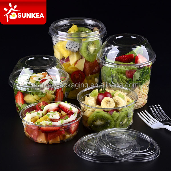 Clear fruit salad PET plastic cup with a lockable lid