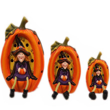 Terracotta halloween pumpkin model with witches