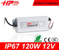 Manufacturing best quality constant voltage single output smps 12v 120w 10amp waterproof led driver ip67