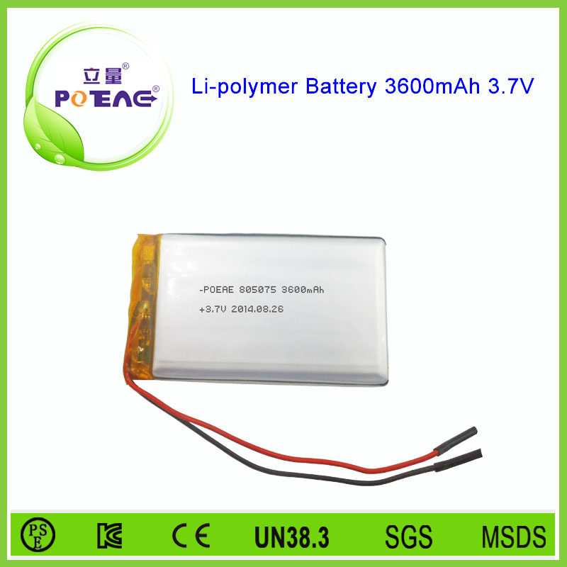 3.7v 3600mah rechargeable polymer lithium-ion battery