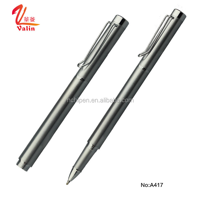 2017 Novel Design Full Stainless Steel Ballpoint Pen Metal with metal spring pen clip