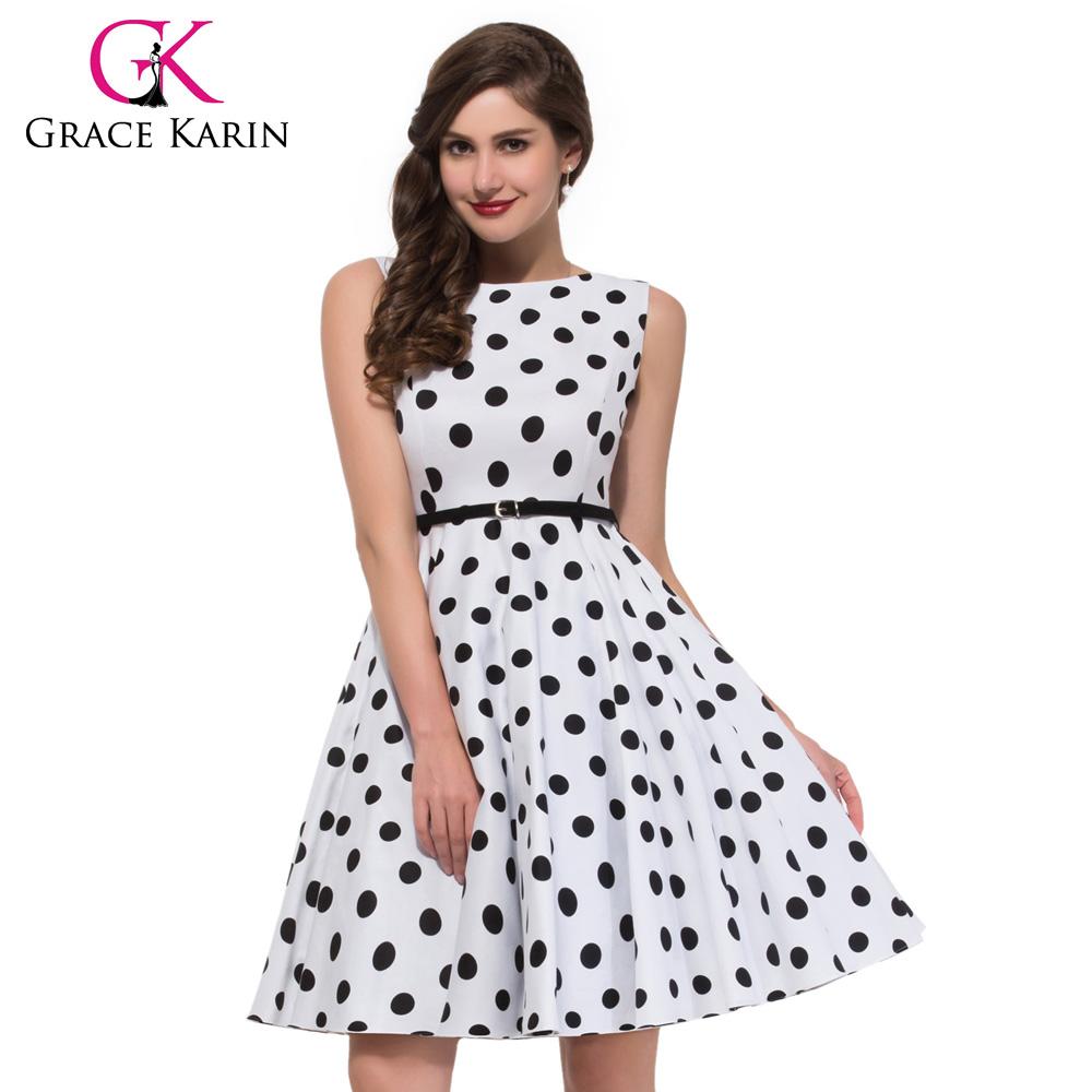 Grace Karin Cotton Polka Dots Sleeveless Women Short Cheap ...