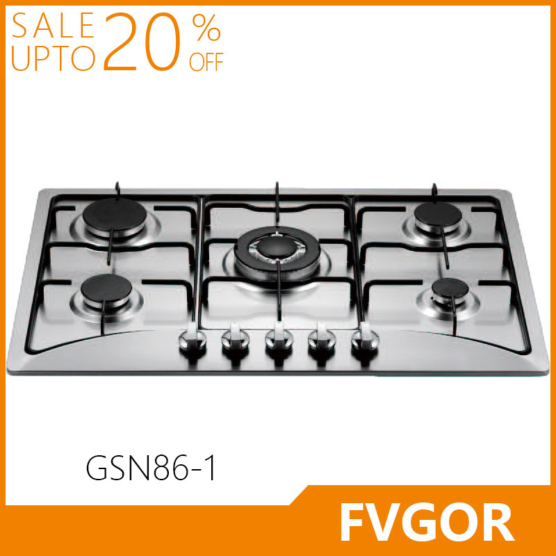 GSN86-1 Fvgor manufacturer 5 burner built in stainless steel gas stove