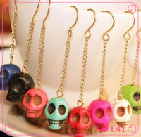 Wholesale hand carved South Jade human cute skull pendant earrings