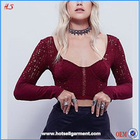 Wholesale Fashion Lady Blouse & Top Saree Blouse Hand Designs Long Sleeve Meshy Crop Top