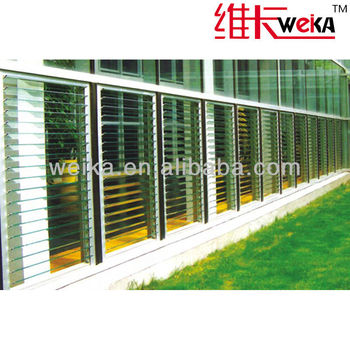 large aluminum windows with glass shutters
